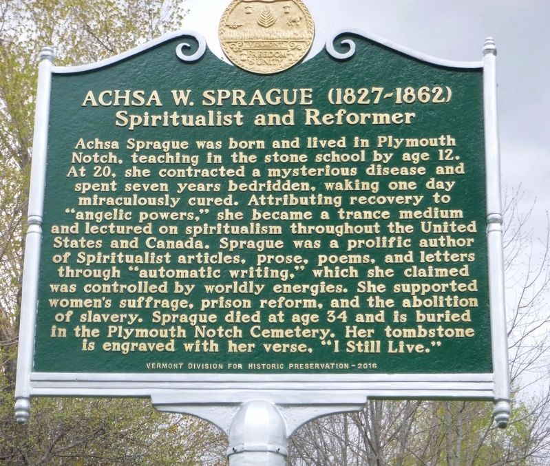Achsa W. Sprague (1827-1862) Spiritualist and Reformer image. Click for full size.