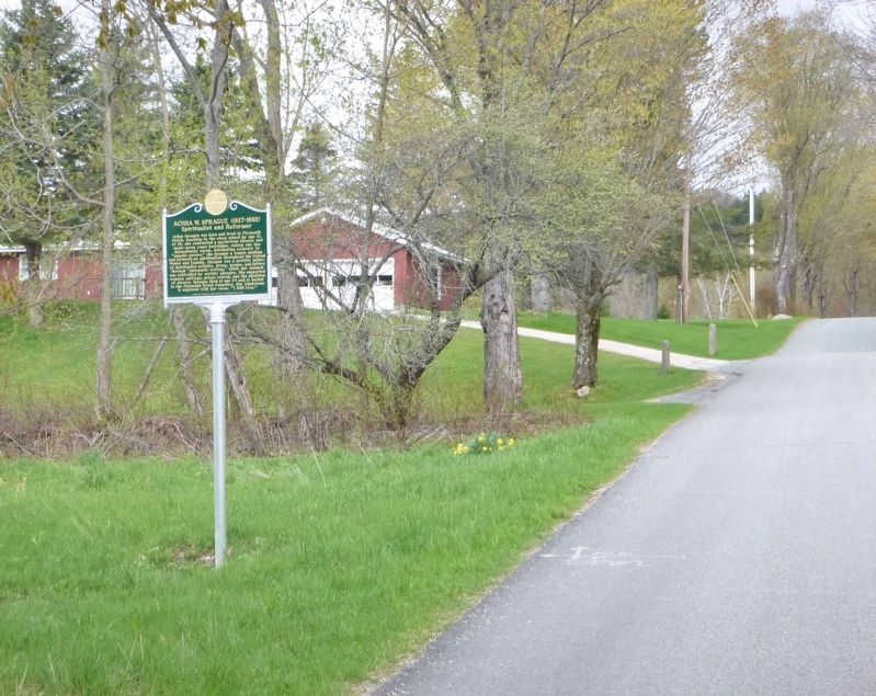 Achsa W. Sprague marker from road image. Click for full size.