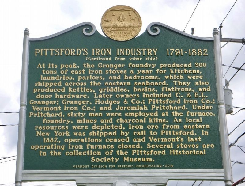 Pittsford's Iron Industry (side 2) image. Click for full size.