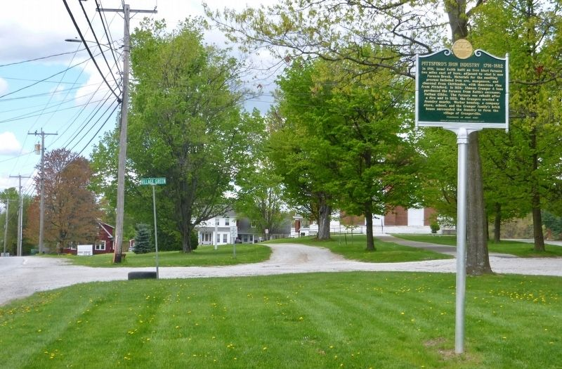 Pittsford's Iron Industry marker from road image. Click for full size.