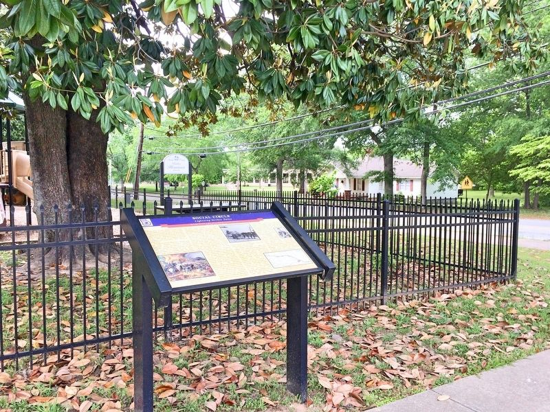 View of Social Circle marker near children's park. image. Click for full size.