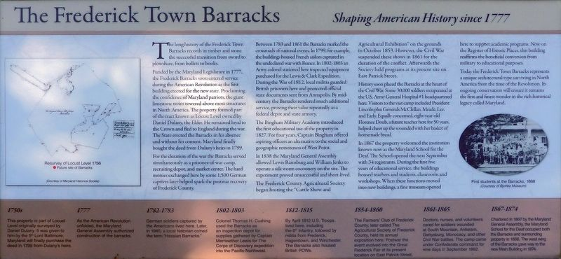 The Frederick Town Barracks Marker image. Click for full size.