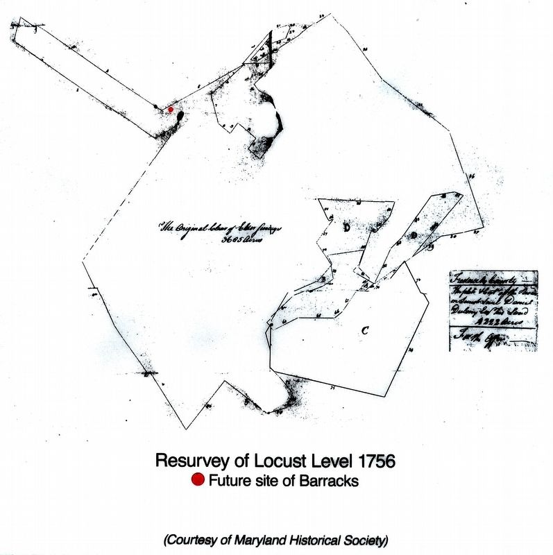 Resurvey of Locust Level 1756<br>Red Dot marks future site of the Barracks image. Click for full size.
