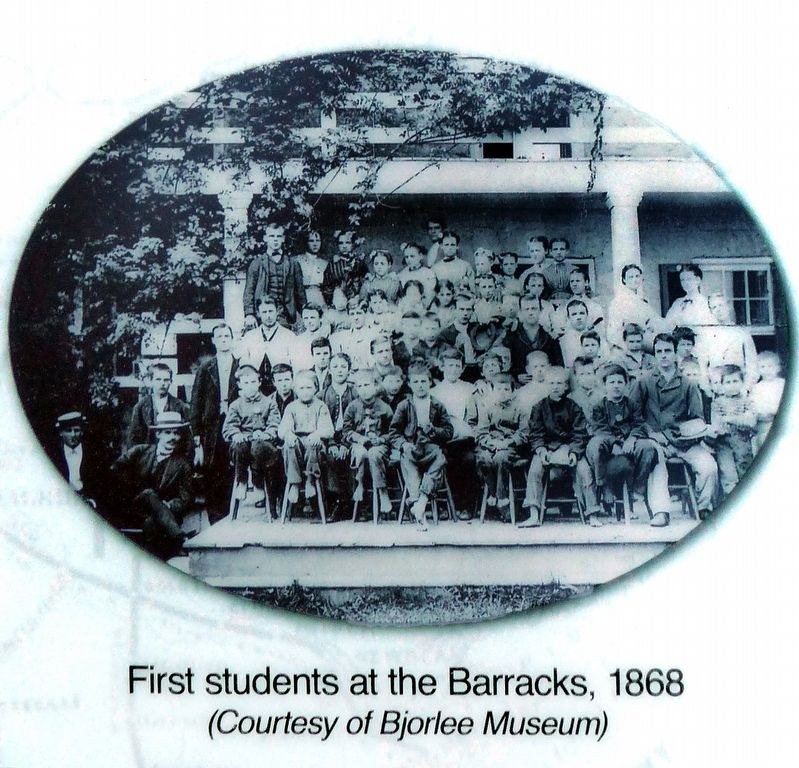 First Students at the Barracks, 1868 image. Click for full size.