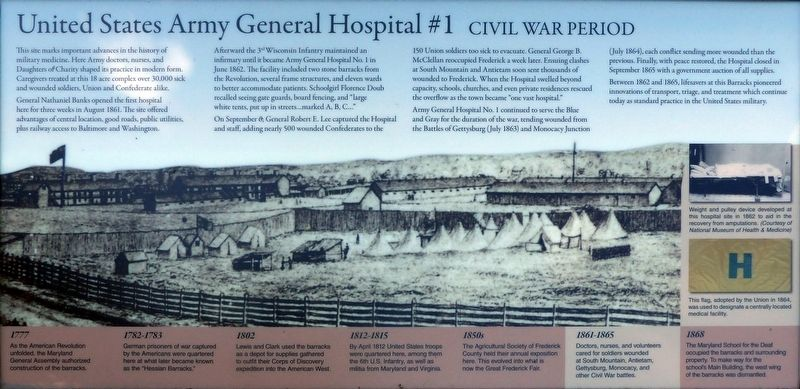 United States Army General Hospital #1 Marker image. Click for full size.