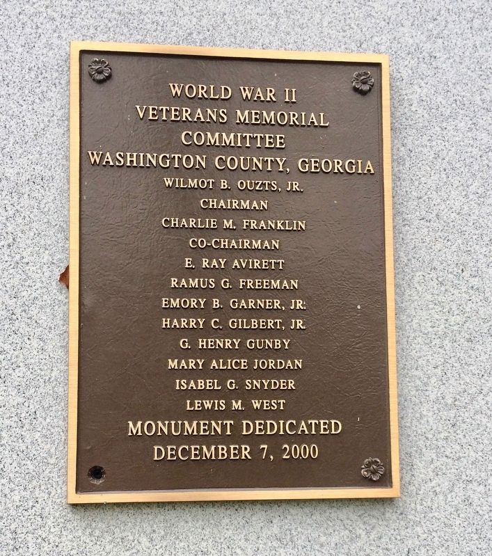World War II Memorial dedication plaque. image. Click for full size.