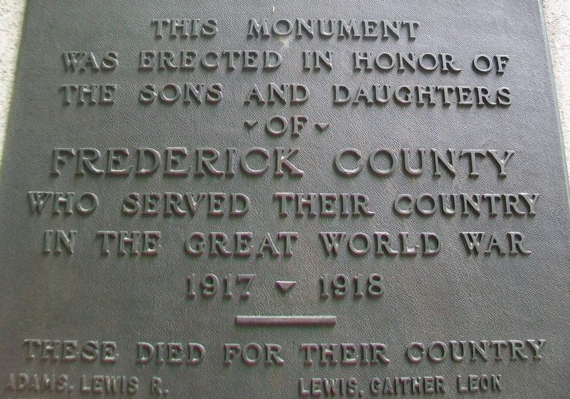 Frederick County World War I Memorial Dedication image. Click for full size.
