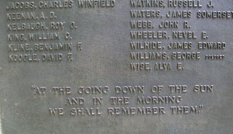 Frederick County World War I Memorial Epitaph image. Click for full size.