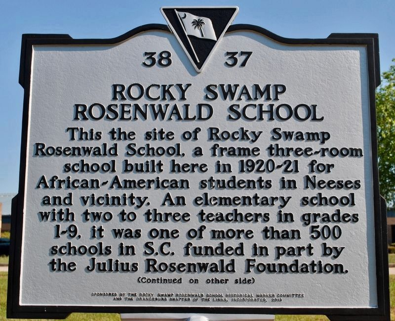 Rocky Swamp Rosenwald School Marker (front) image. Click for full size.