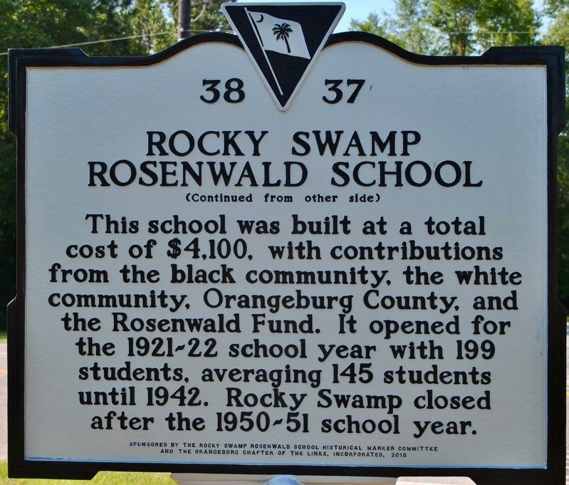 Rocky Swamp Rosenwald School Marker (rear) image. Click for full size.