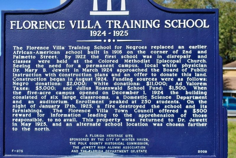 Updated Florence Villa Training School Marker image. Click for full size.