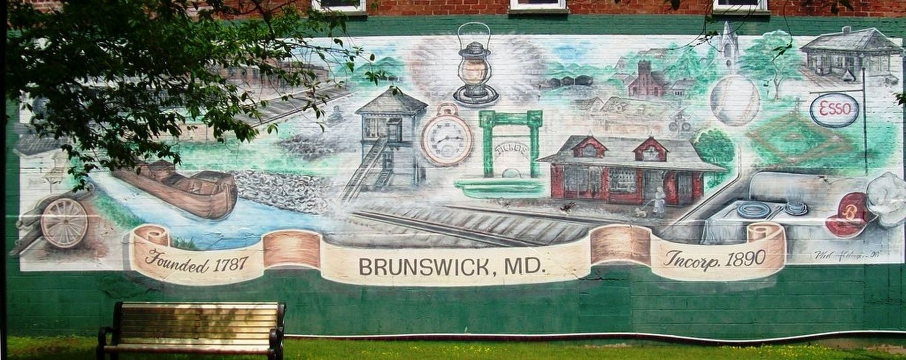Brunswick Historical Mural in Square Corner Park image. Click for full size.