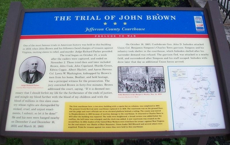 The Trial of John Brown Marker image. Click for full size.