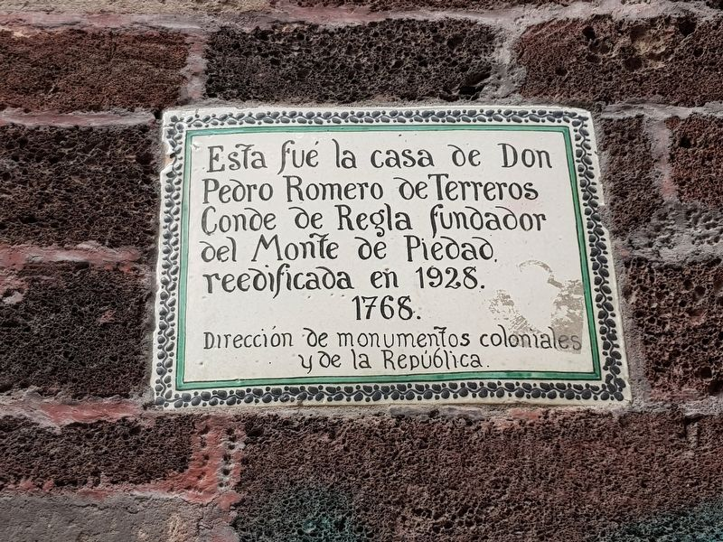 House of Pedro Romero de Terreros Marker image. Click for full size.