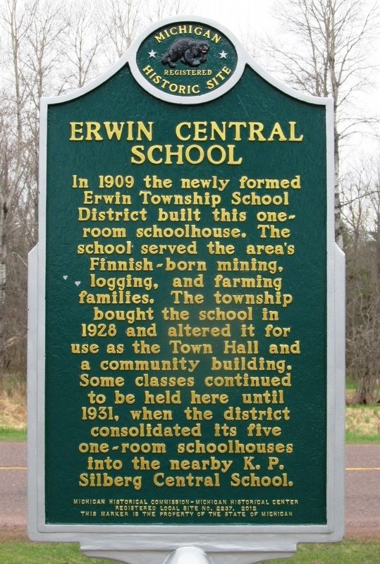 Erwin Central School Marker image. Click for full size.