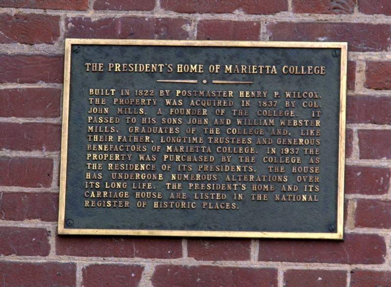 The President's Home of Marietta College Marker image. Click for full size.