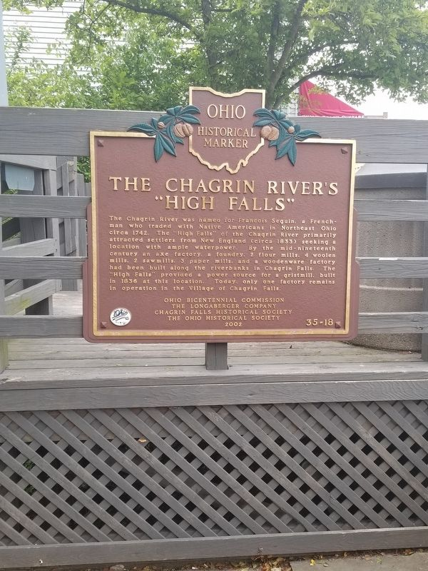 "The Chagrin River's ""High Falls"" Marker image. Click for full size."