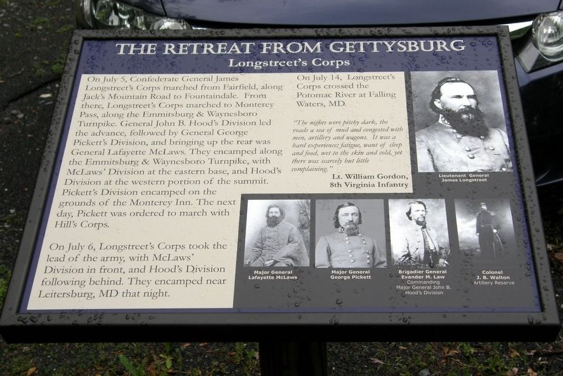 The Retreat From Gettysburg Marker image. Click for full size.