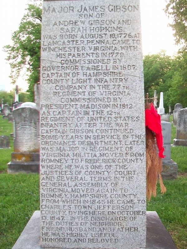 Major James Gibson Monument (East Side) image. Click for full size.