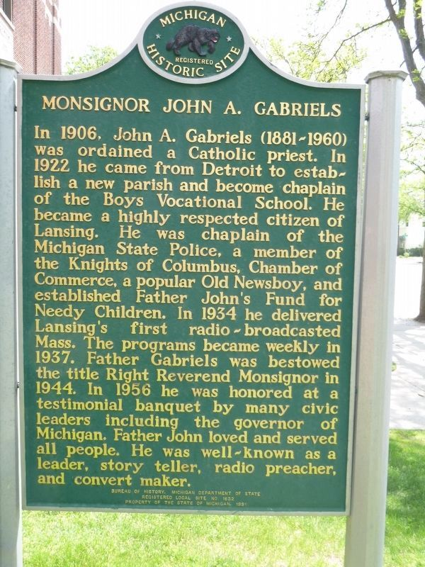 Monsignor John A. Gabriels Marker image. Click for full size.