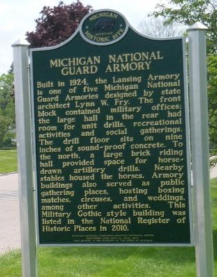 Michigan National Guard Armory and Marker image. Click for full size.
