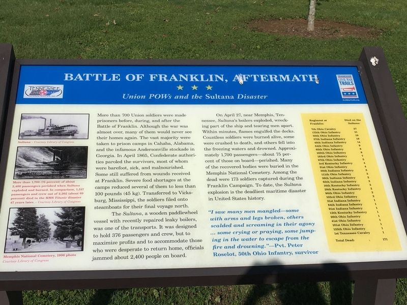 Battle of Franklin, Aftermath Marker image. Click for full size.
