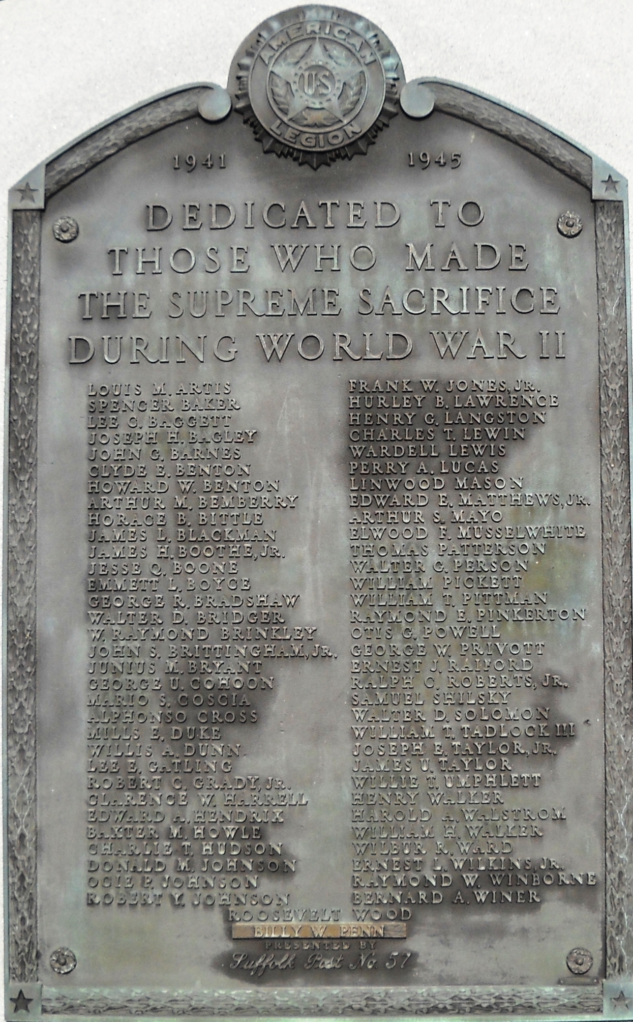 World War II Memorial Plaque