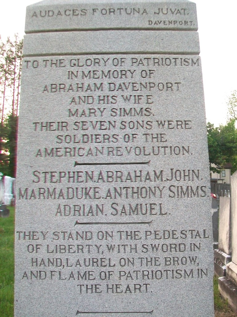 Davenport Brothers Revolutionary War Memorial Marker (South Face)