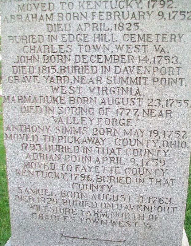 Davenport Brothers Revolutionary War Memorial Marker (North Side) image. Click for full size.