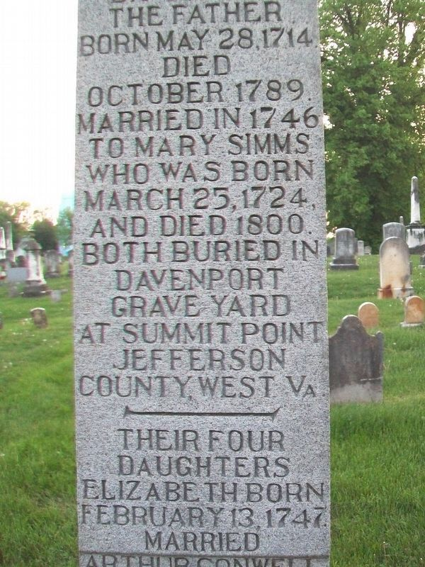 Davenport Brothers Revolutionary War Memorial Marker (East Side) image. Click for full size.