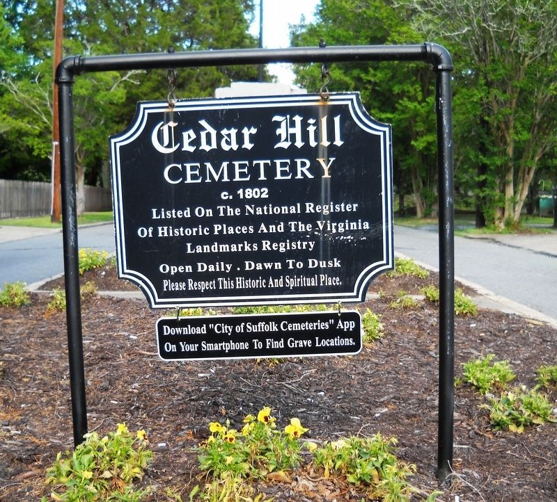 Cedar Hill Cemetery Main Entrance Sign. image. Click for full size.