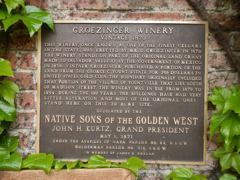 Groezinger Winery Marker image. Click for full size.