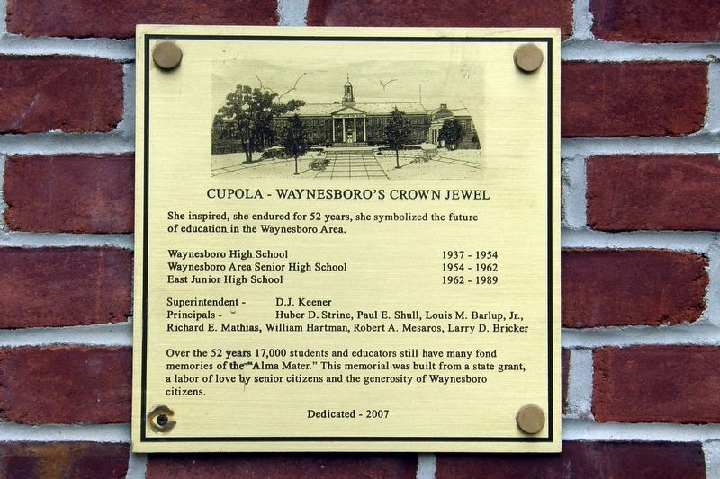 Cupola – Waynesboro's Crown Jewel Marker image. Click for full size.