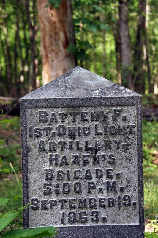 Battery F, 1st Ohio Light Artillery Marker Marker image. Click for full size.