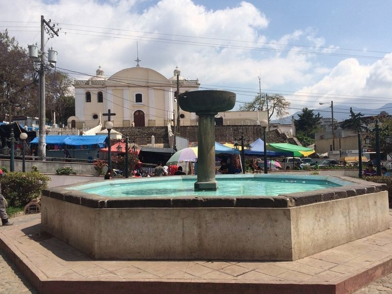 A view of an older fountain looking towards the east at Sumpango. image. Click for full size.