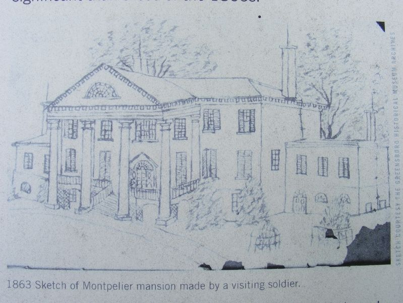 Wartime sketch of the Montpelier mansion image. Click for full size.