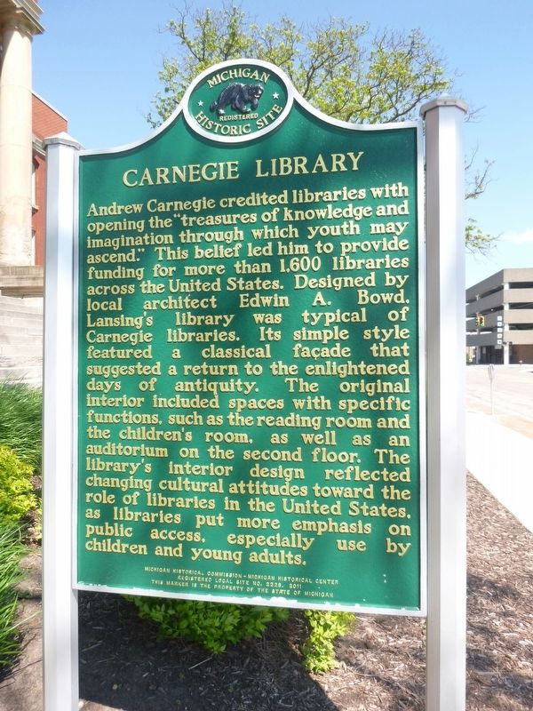 Carnegie Library Marker Side A image. Click for full size.