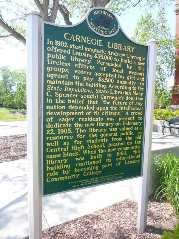 Carnegie Library Marker Side B image. Click for full size.