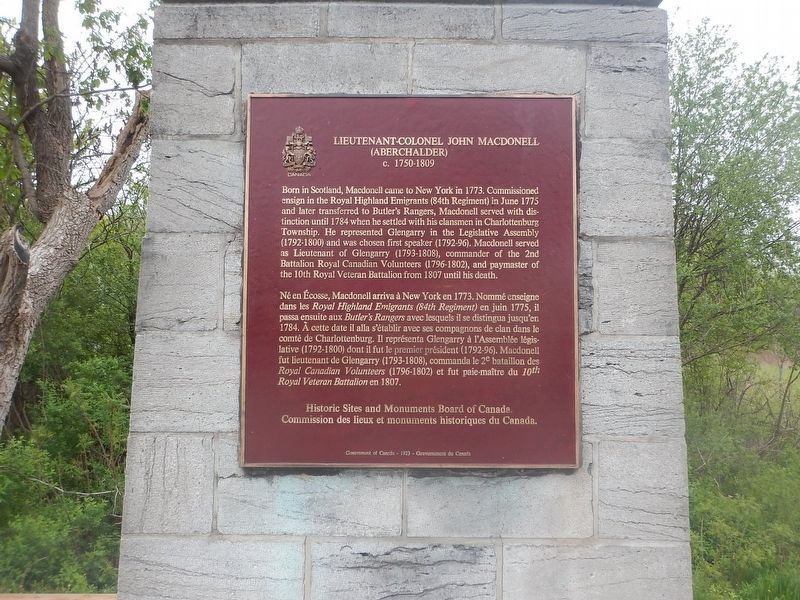 Lieutenant-Colonel John Macdonell Marker image. Click for full size.