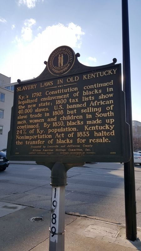 Slavery Laws In Old Kentucky Marker image. Click for full size.
