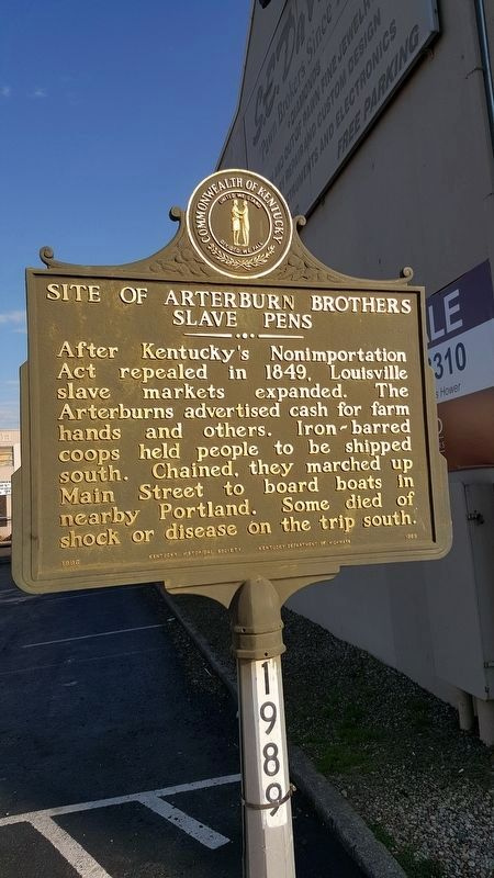 Site of Arterburn Brothers Slave Pens Marker image. Click for full size.