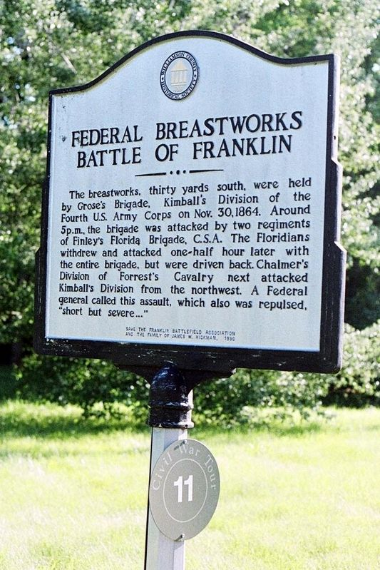 Federal Breastworks Marker image. Click for full size.