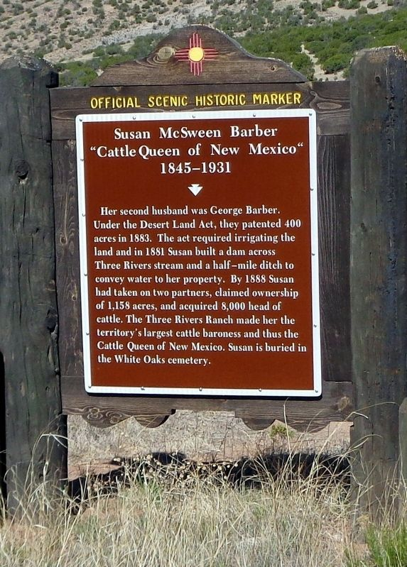 "Susan McSween Barber ""Cattle Queen of New Mexico"" 1845-1931 Marker image. Click for full size."