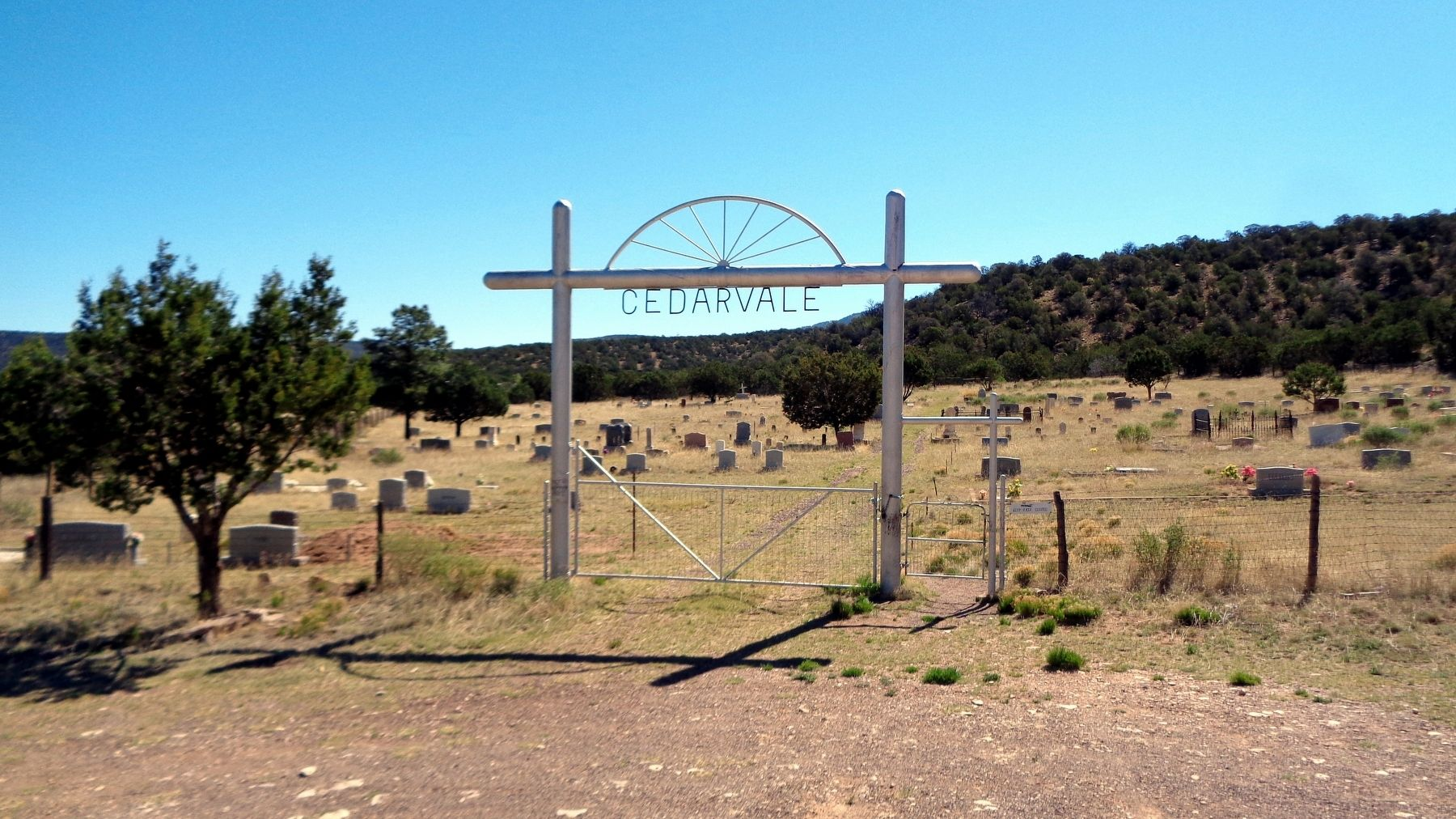 Cedarvale Cemetery, White Oaks NM burial place of Susan McSween Barber image. Click for full size.