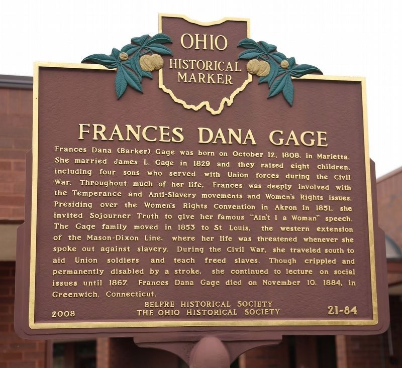 Frances Dana Gage Face of Marker image. Click for full size.