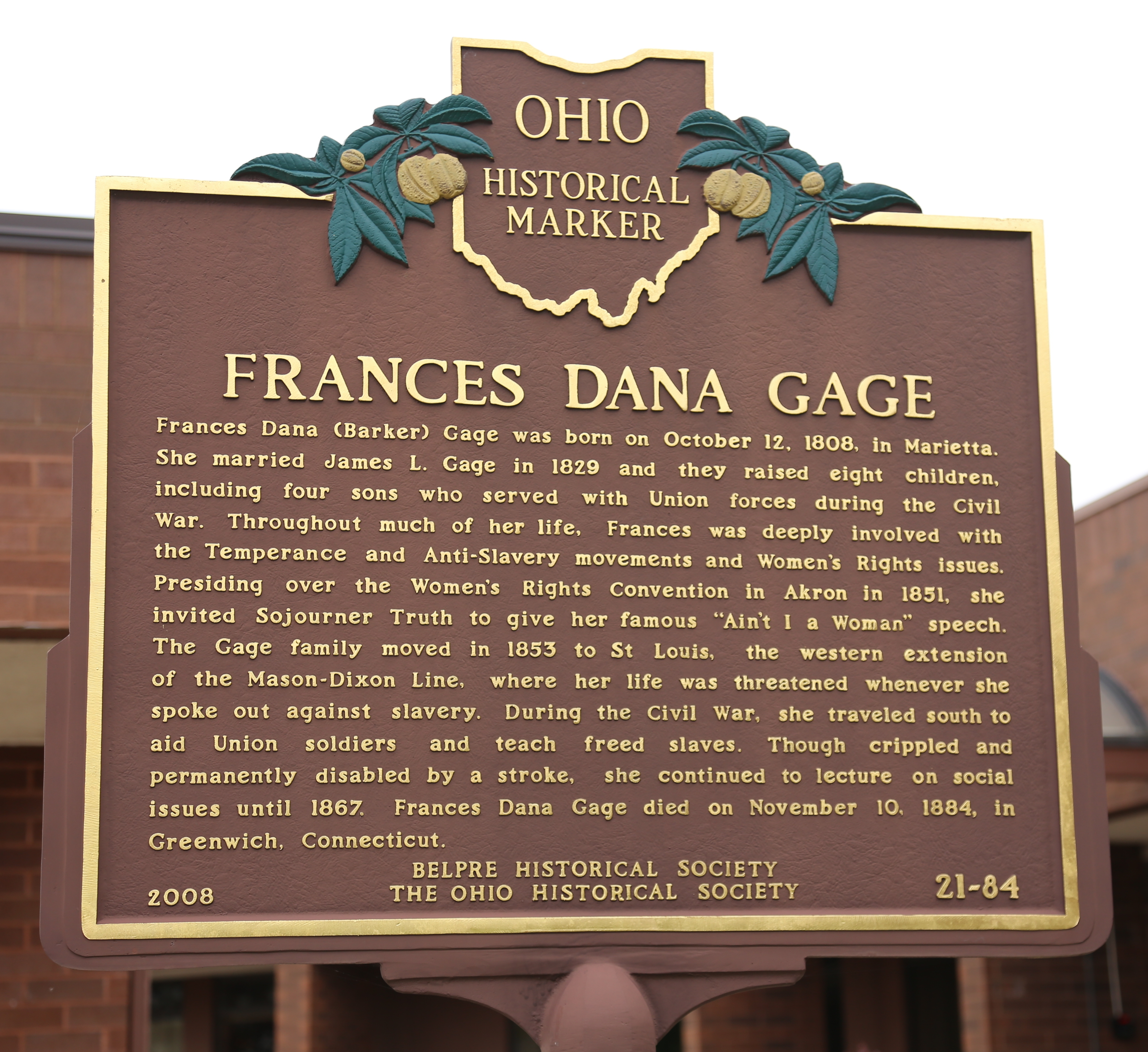 Frances Dana Gage Face of Marker