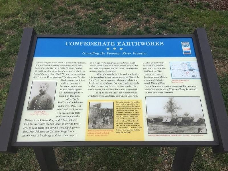 Confederate Earthworks Marker image. Click for full size.