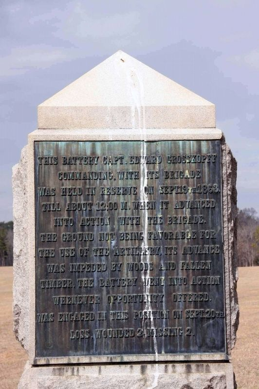 20th Battery, Ohio Light Artillery Monument (rear) image. Click for full size.
