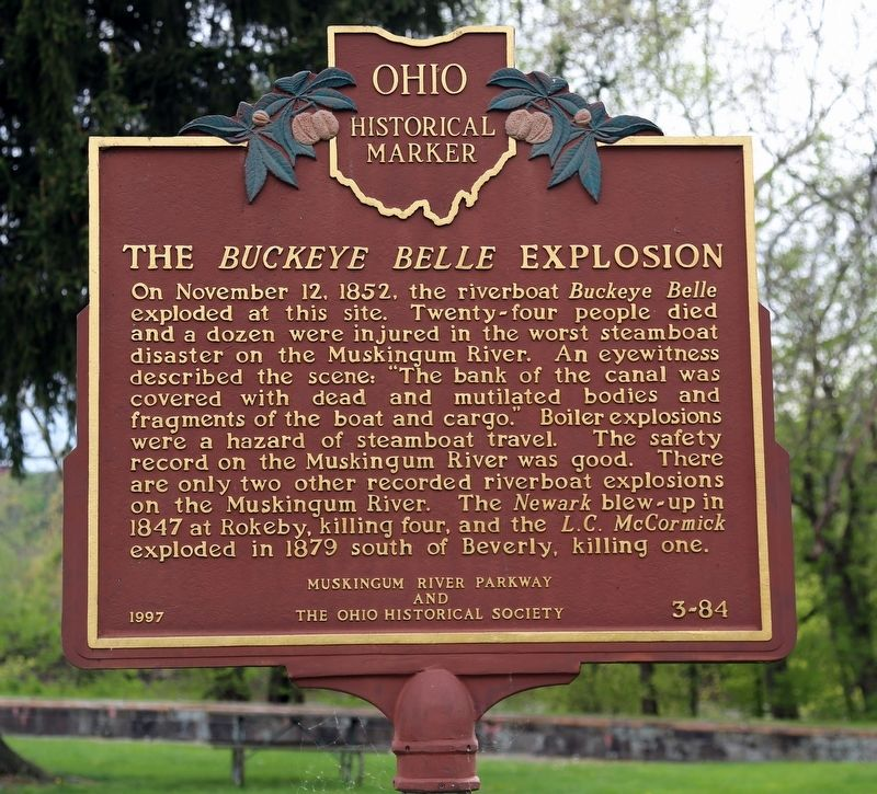 The <i>Buckeye Belle</i> Explosion Marker image. Click for full size.