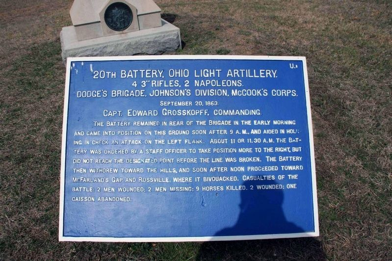 20th Battery, Ohio Light Artillery Marker image. Click for full size.